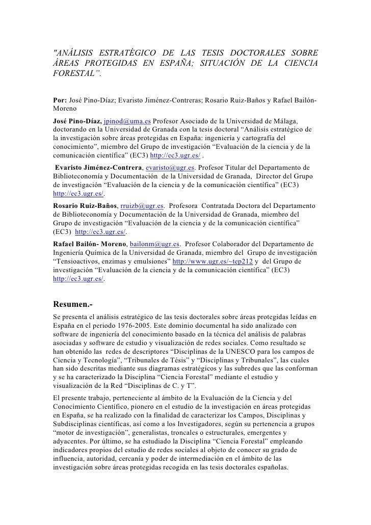 """""""ANÁLISIS ESTRATÉGICO DE LAS TESIS DOCTORALES SOBRE ÁREAS PROTEGIDAS EN ESPAÑA; SITUACIÓN DE LA CIENCIA FORESTAL"""".   Por: ..."""