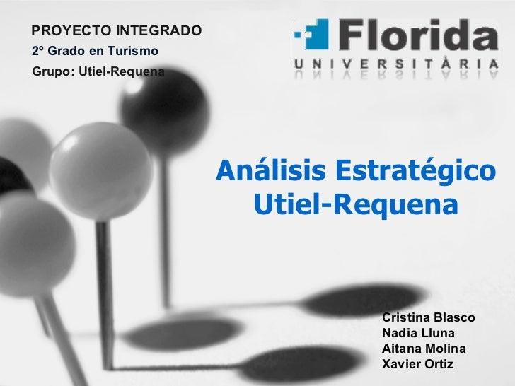 Análisis Estratégico Utiel-Requena PROYECTO INTEGRADO 2º Grado en Turismo Grupo: Utiel-Requena Cristina Blasco Nadia Lluna...
