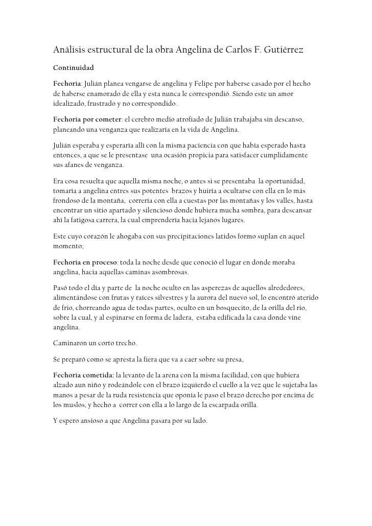 Análisis estructural de la obra Angelina de Carlos F. Gutiérrez <br />Continuidad <br />Fechoría: Julián planea vengarse d...
