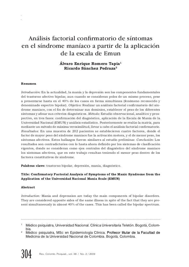 Romero Á., Sánchez R.  Análisis factorial confirmatorio de síntomasen el síndrome maníaco a partir de la aplicación       ...
