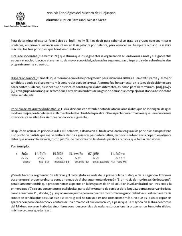 Análisis Fonológico del Mixteco de Huajuapan  Alumna: Yunuen Sarasuadi Acosta Meza  Para determinar el estatus fonológico ...