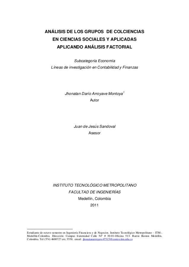 ANÁLISIS DE LOS GRUPOS DE COLCIENCIAS                     EN CIENCIAS SOCIALES Y APLICADAS                        APLICAND...