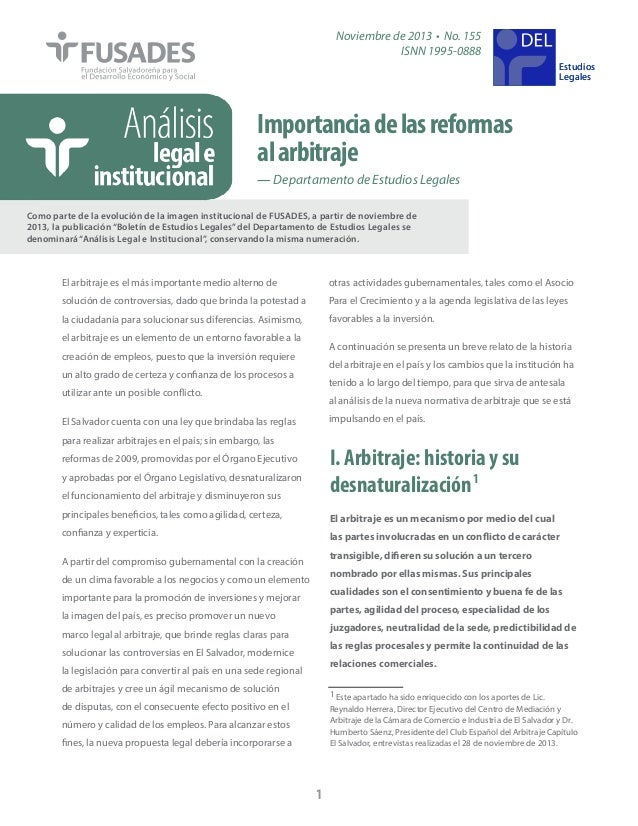 Noviembre de 2013 • No. 155 ISNN 1995-0888  DEL Estudios Legales  Importancia de las reformas al arbitraje — Departamento ...