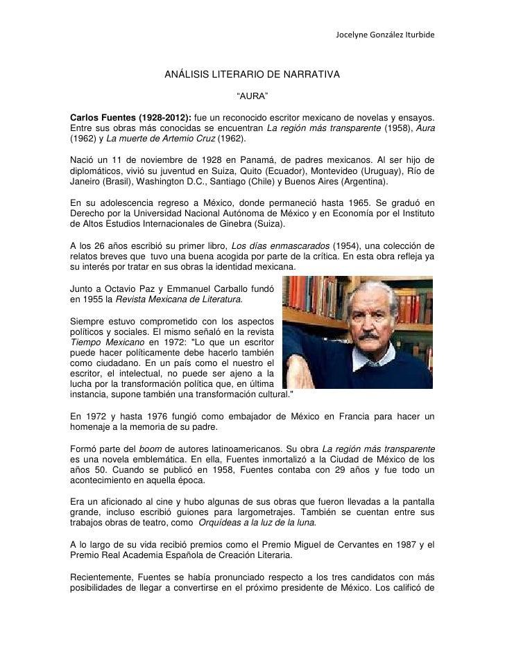 """Jocelyne González Iturbide                       ANÁLISIS LITERARIO DE NARRATIVA                                         """"..."""