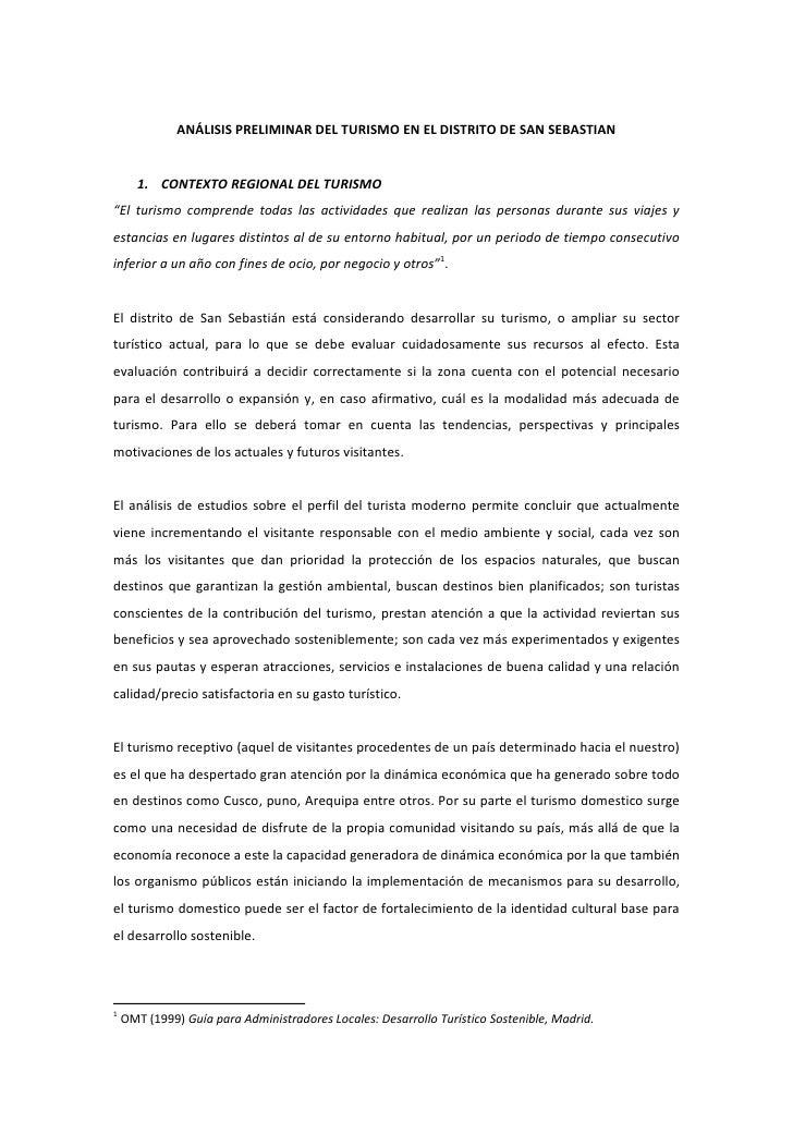 """ANÁLISIS PRELIMINAR DEL TURISMO EN EL DISTRITO DE SAN SEBASTIAN       1. CONTEXTO REGIONAL DEL TURISMO""""El turismo comprend..."""