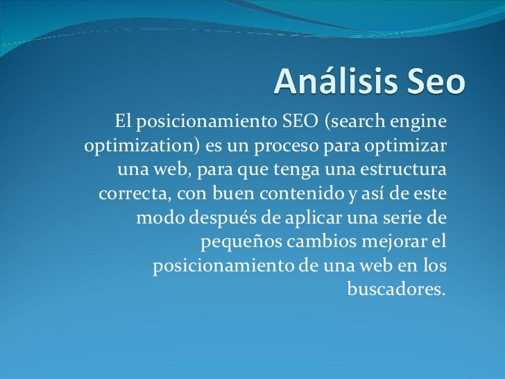 El posicionamiento SEO (search engine optimization) es un proceso para optimizar una web, para que tenga una estructura co...