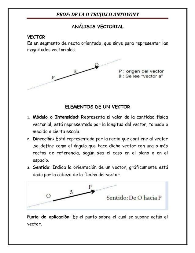 PROF: DE LA O TRUJILLO ANTOYONY ANÁLISIS VECTORIAL VECTOR Es un segmento de recta orientado, que sirve para representar la...