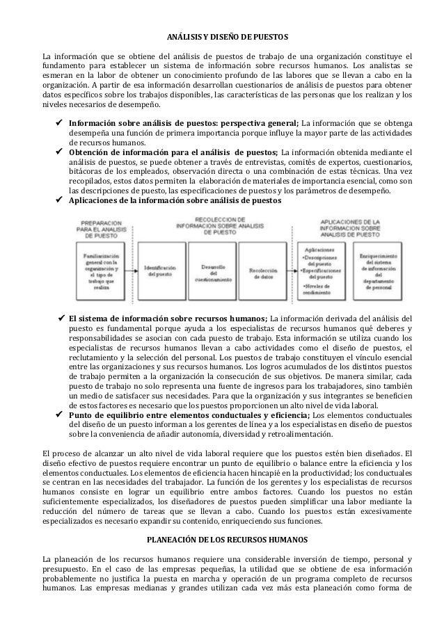 ANÁLISIS Y DISEÑO DE PUESTOSLa información que se obtiene del análisis de puestos de trabajo de una organización constituy...
