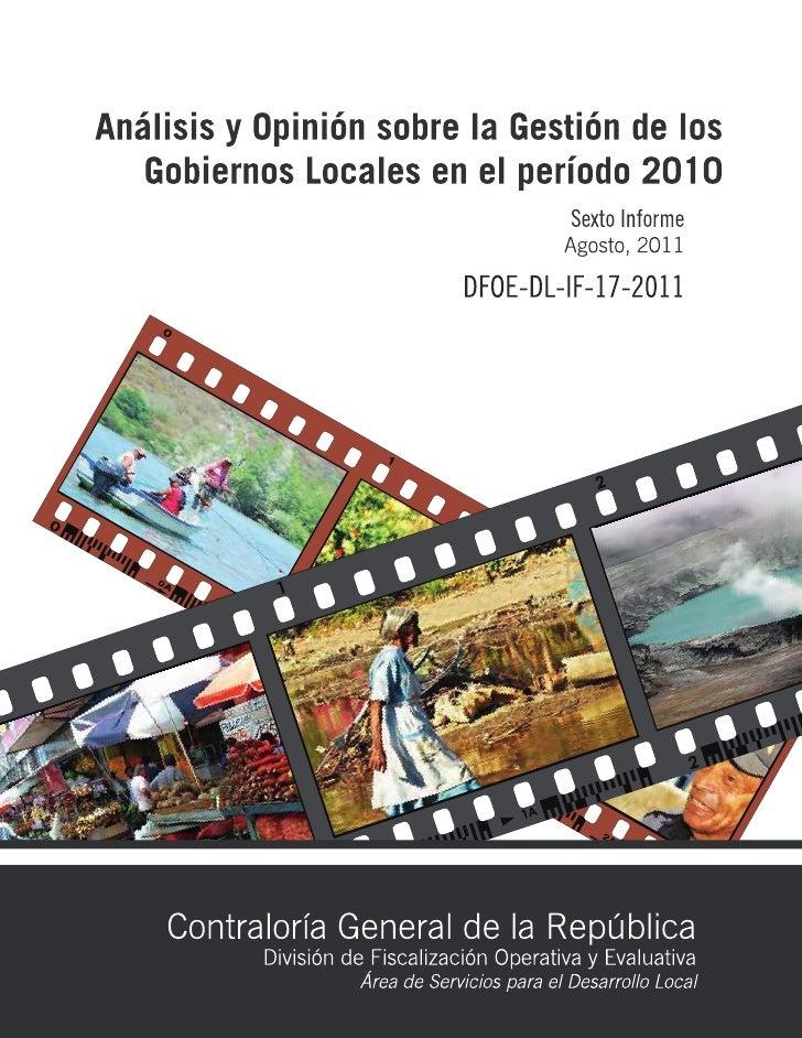 Análisis y opinión sobre la gestión de los gobiernos locales en el período 2010