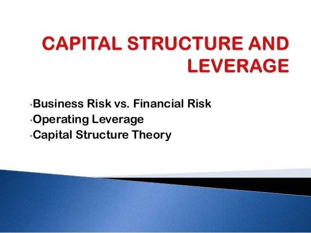 •Business  Risk vs. Financial Risk•Operating Leverage•Capital Structure Theory