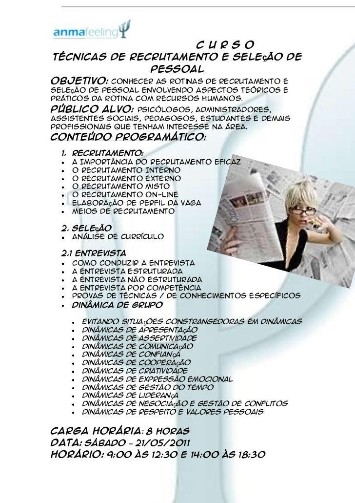 228600-228600                                   C U R S O<br />Técnicas de Recrutamento e Seleção de Pessoal<br />Objetivo...