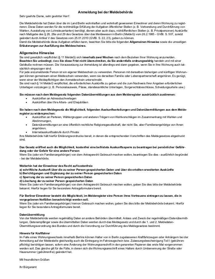 Anmeldung bei der MeldebehördeSehr geehrte Dame, sehr geehrter Herr!Die Meldebehörde hat Daten über die im Land Berlin woh...