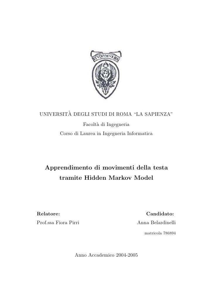"""`  UNIVERSITA DEGLI STUDI DI ROMA """"LA SAPIENZA""""                         Facolt` di Ingegneria                             ..."""