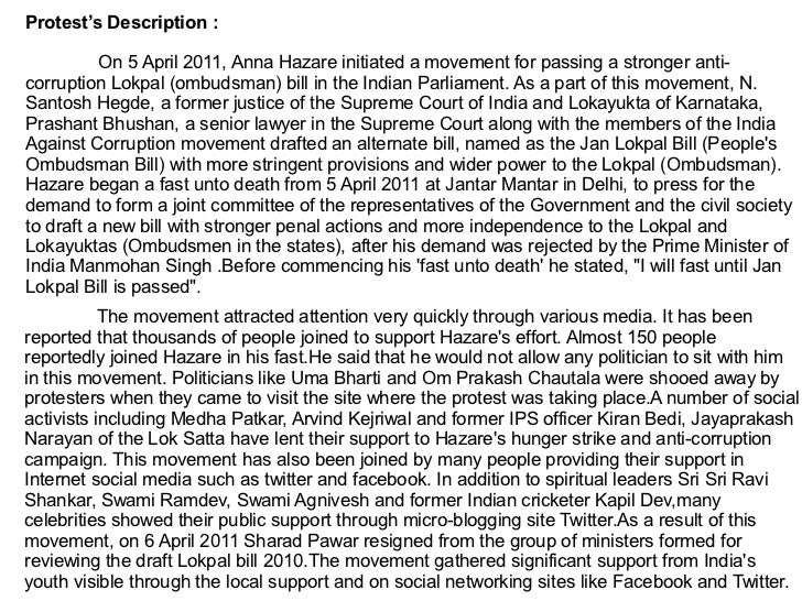 essay on anti corruption movement in india by anna hazare Corruption is found in essay on anti corruption movement by anna hazare the government when instead of thinking about the interests of the citizens as a whole, the.