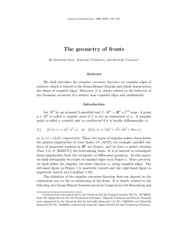 Annals of Mathematics, 169 (2009), 491–529                     The geometry of fronts         By Kentaro Saji, Masaaki Ume...