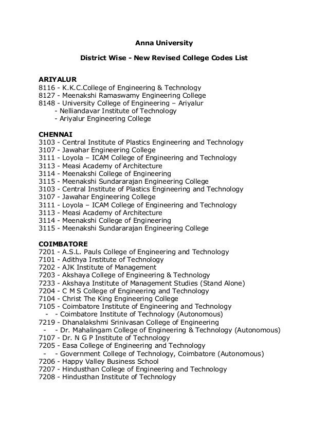 Anna University District Wise - New Revised College Codes List ARIYALUR 8116 - K.K.C.College of Engineering & Technology 8...