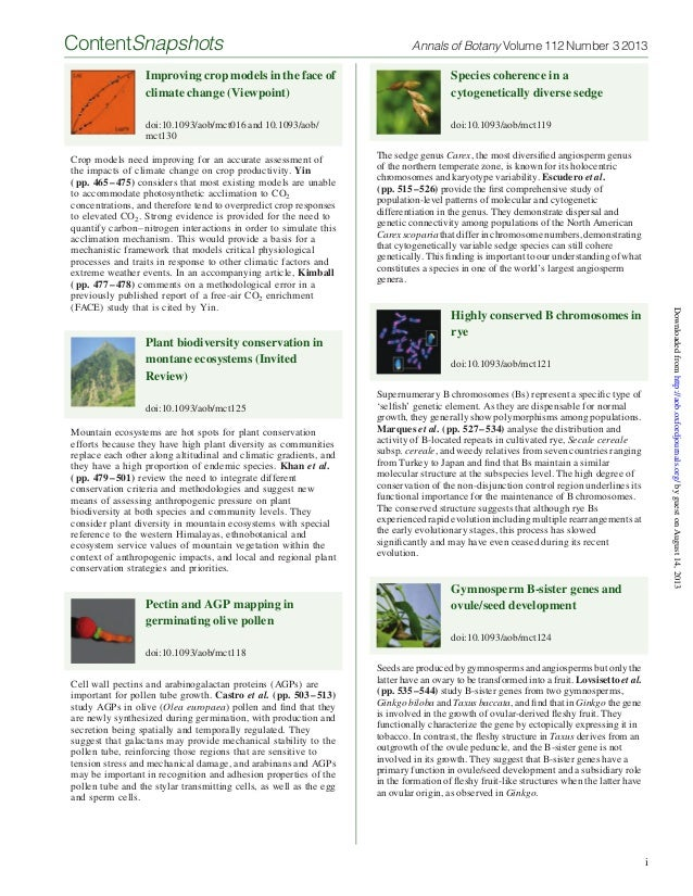 Improving crop models in the face of climate change (Viewpoint) doi:10.1093/aob/mct016 and 10.1093/aob/ mct130 Crop models...