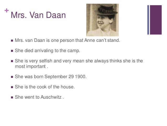 Mrs Van Daan Death Mrs Van Daan  Mrs Van