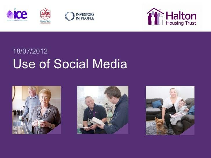 18/07/2012Use of Social Media
