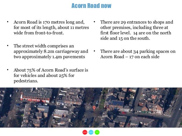 1• Acorn Road is 170 metres long and,for most of its length, about 11 metreswide from front-to-front.• The street width co...