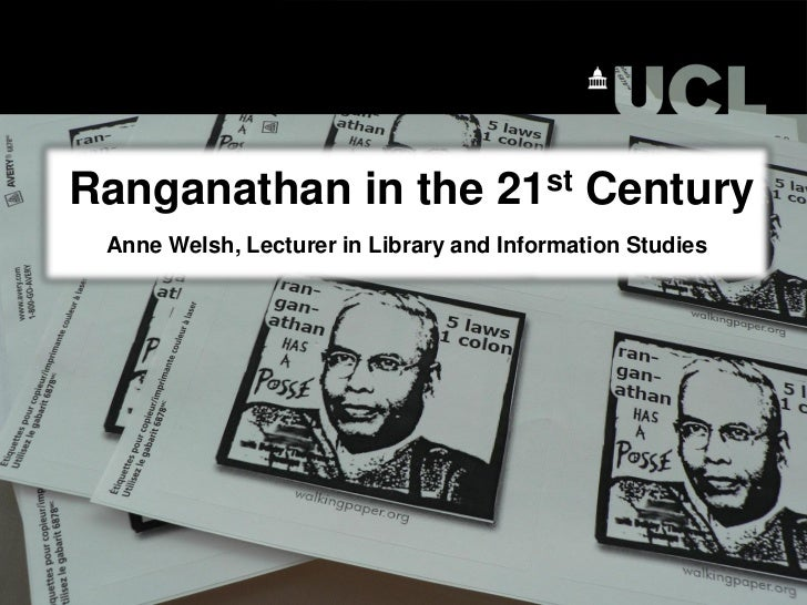 Ranganathan in the 21st Century Anne Welsh, Lecturer in Library and Information Studies