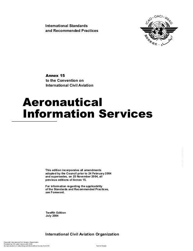 Annex 15 aeronautical information services