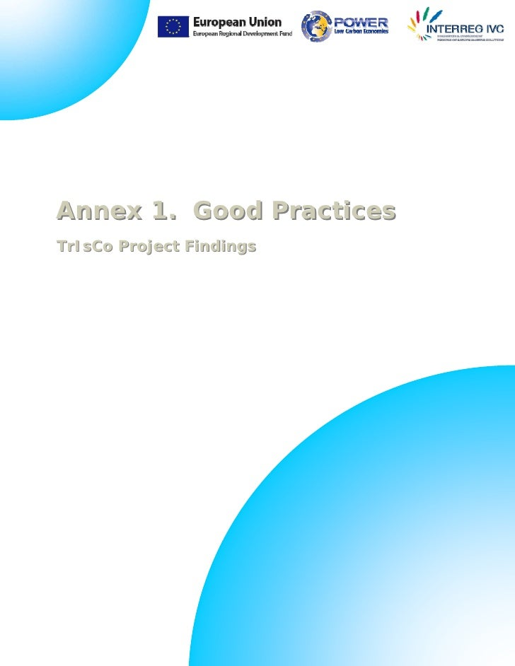 Annex 1. Good PracticesTrIsCo Project Findings