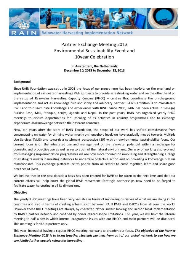 Annex 1 Partner Exchange Meeting 2013 Background