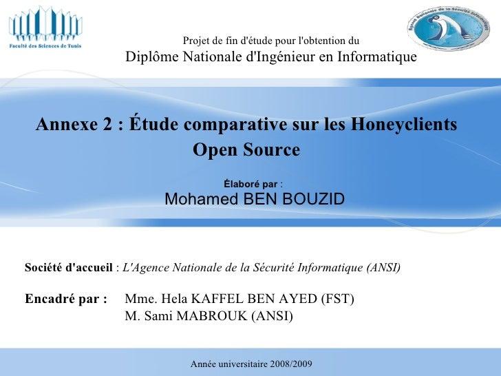 Élaboré par  :  Mohamed BEN BOUZID Projet de fin d'étude pour l'obtention du Diplôme Nationale d'Ingénieur en Informatique...