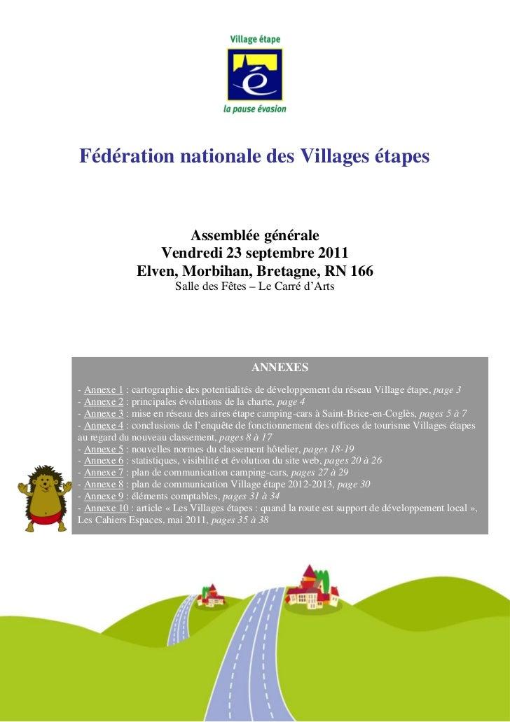 Fédération nationale des Villages étapes                      Assemblée générale                 Vendredi 23 septembre 201...
