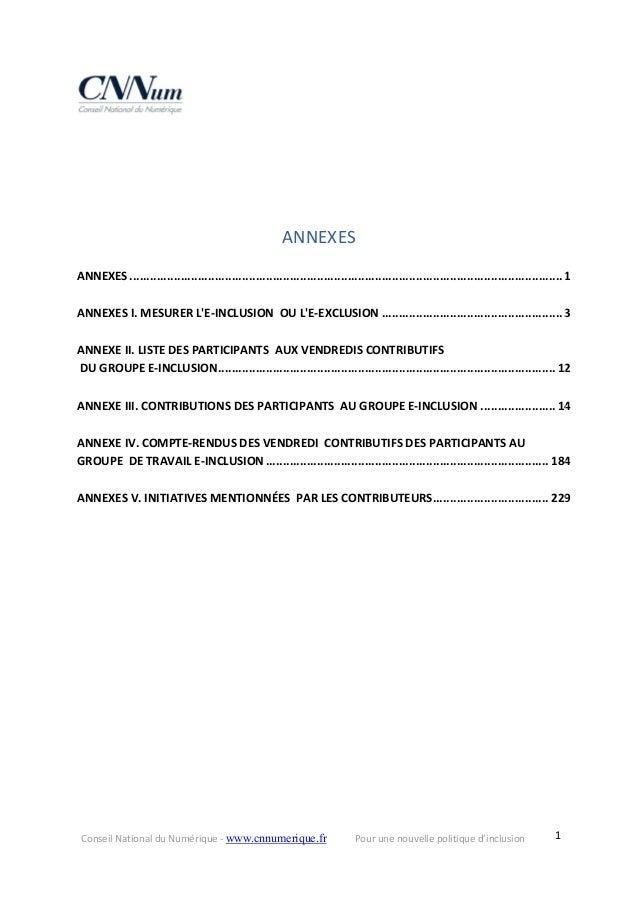 ConseilNationalduNumérique‐www.cnnumerique.fr Pourunenouvellepolitiqued'inclusion  1  ANNEXES ANNEXES........