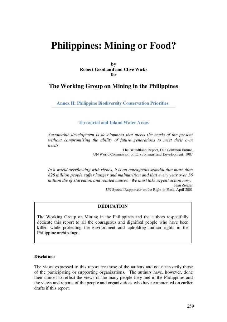 Philippines: Mining or Food?                                      by                        Robert Goodland and Clive Wick...