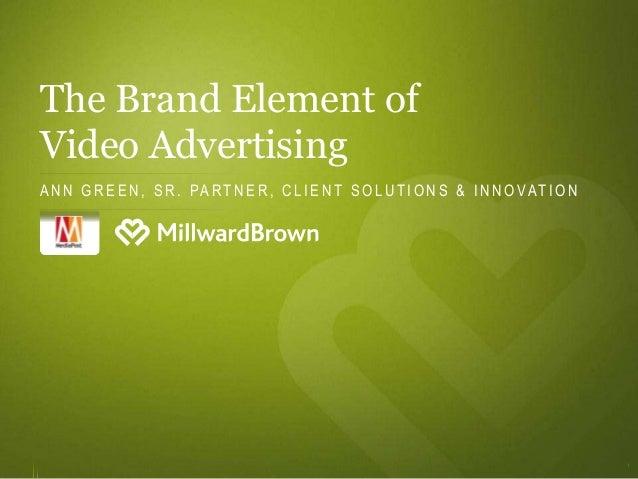 The Brand Element ofVideo AdvertisingA N N G R E E N , S R . PA R T N E R , C L I E N T S O L U T I O N S & I N N O VAT I ...