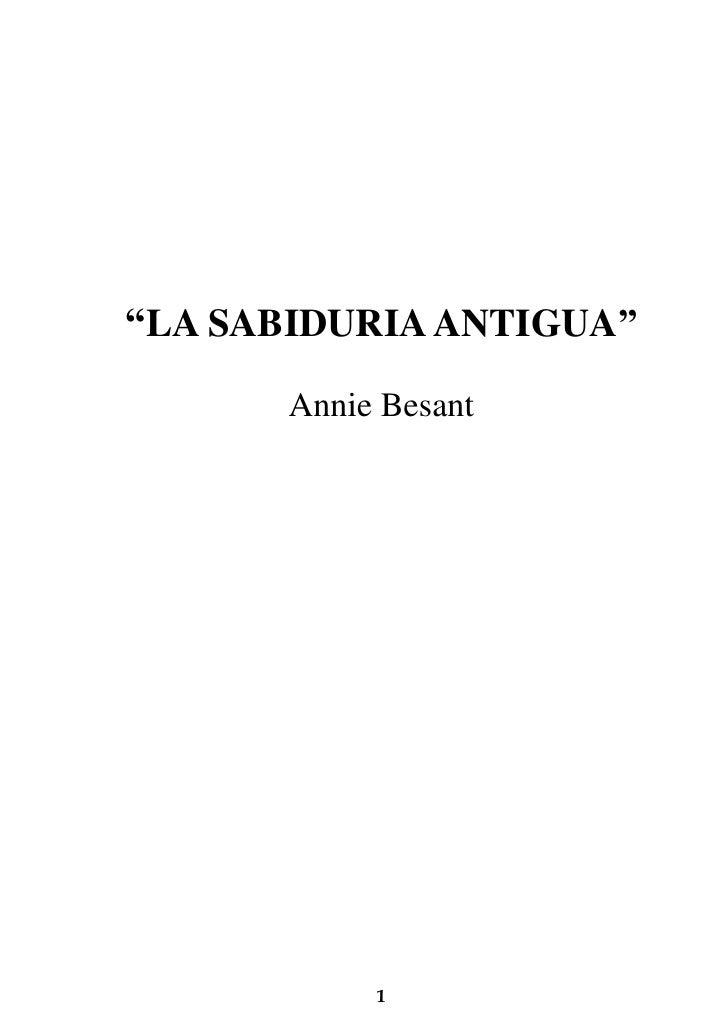 Annie besant  - la sabiduria antigua