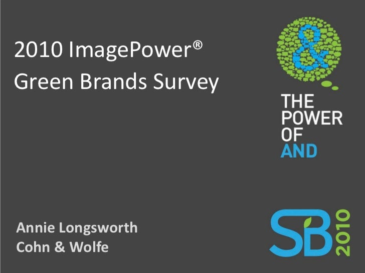 2010 ImagePower® Green Brands Survey     Annie Longsworth Cohn & Wolfe