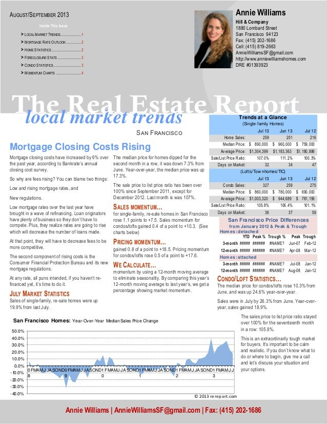 local market trends The Real Estate Report Sඉඖ Fකඉඖඋඑඛඋ඗ CONDO/LOFT STATISTICS… The median price for condos/lofts rose 10....