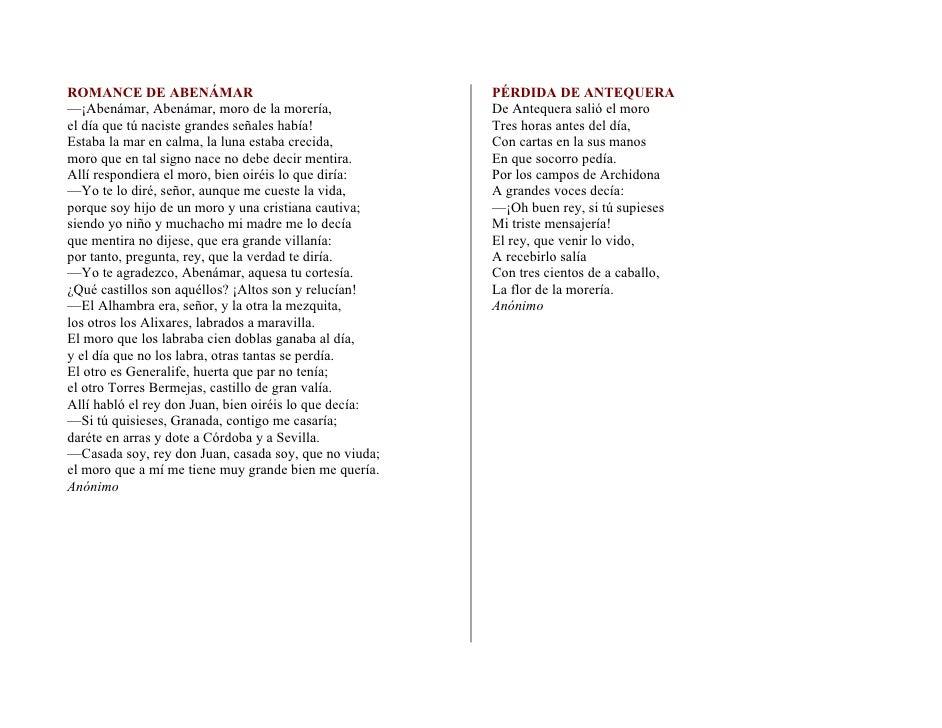 ROMANCE DE ABENÁMAR                                     PÉRDIDA DE ANTEQUERA —¡Abenámar, Abenámar, moro de la morería,    ...
