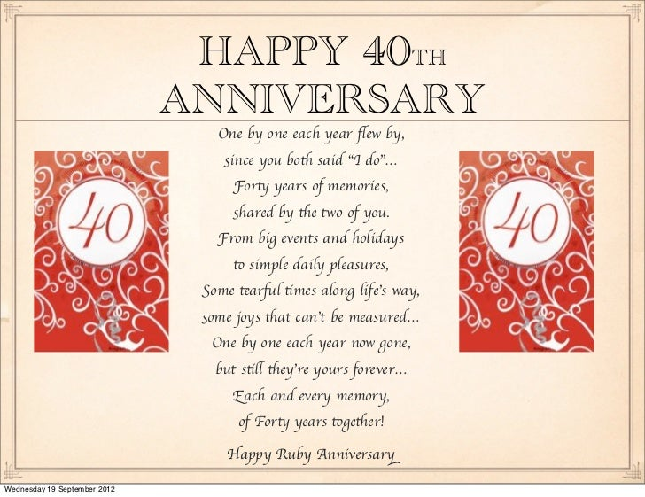 40 Wedding Anniversary Gift For Husband : Wedding Anniversary!!!!!