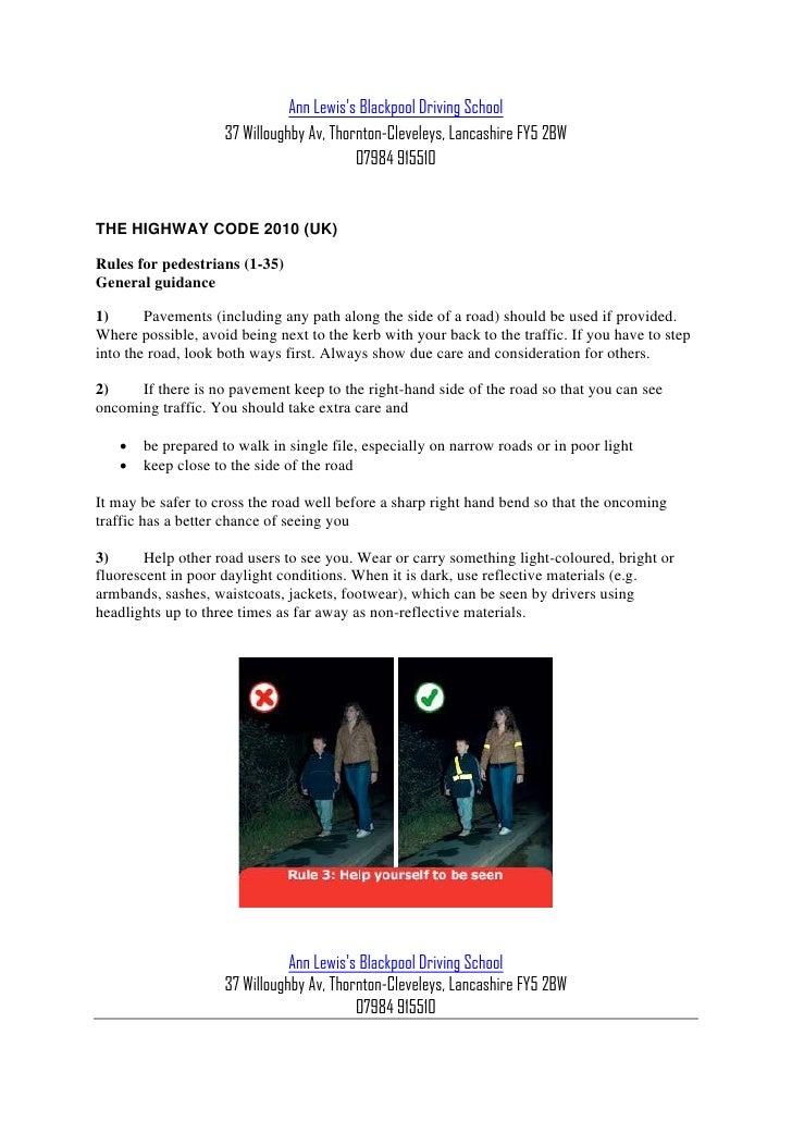 Ann lewis blackpool driving school   highway code - rules for pedestrians