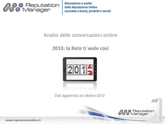 Analisi delle conversazioni online                              2013: la Rete ti vede così                               D...