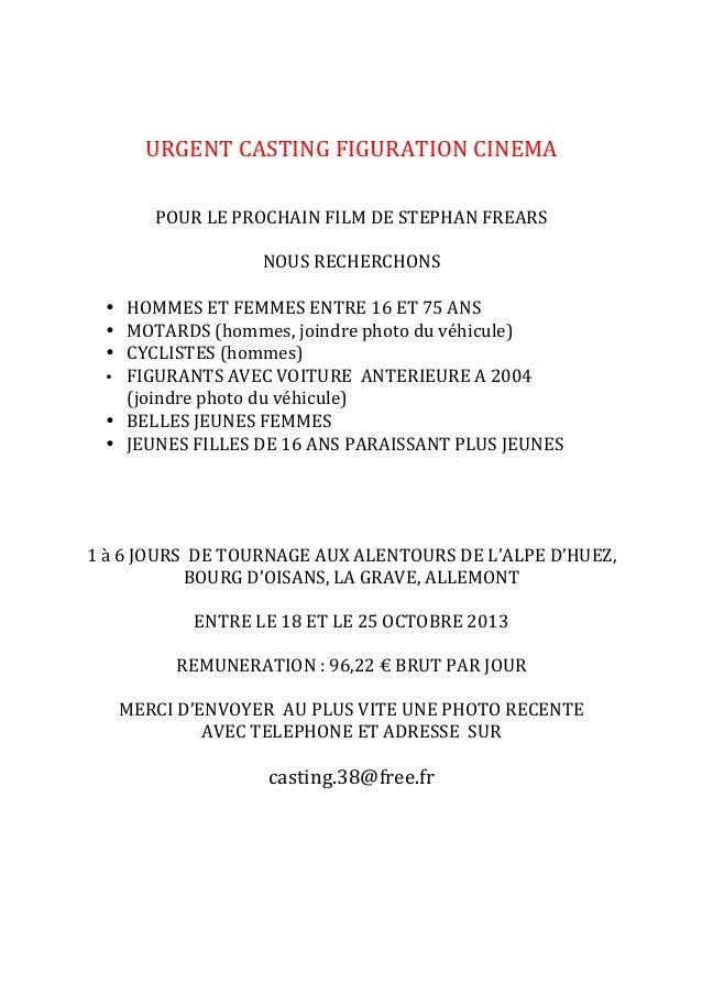 URGENT  CASTING  FIGURATION  CINEMA         POUR  LE  PROCHAIN  FILM  DE  STEPHAN  FRE...