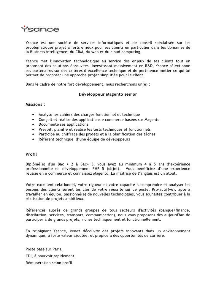 Annonce Développeur Magento Senior