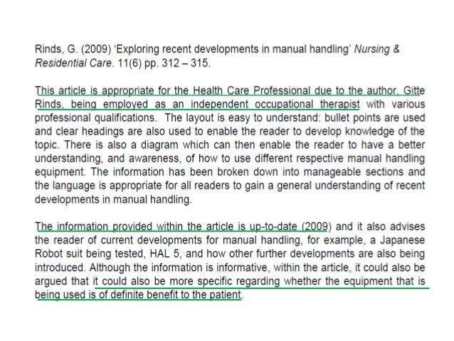 annotated bibliography nursing topics An annotation is different from an abstract it should have several sentences summarizing the main points or ideas found in the item it should then include your own statement evaluating the quality of the item and/or relating the item to your own research topic • for a longer annotated bibliography, it is appropriate to divide.