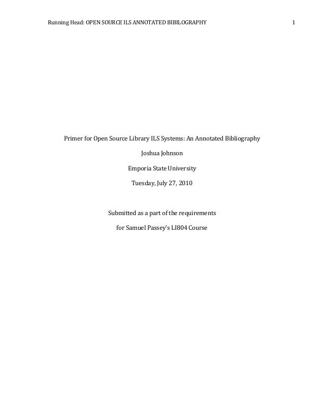 title page for annotated bibliography apa