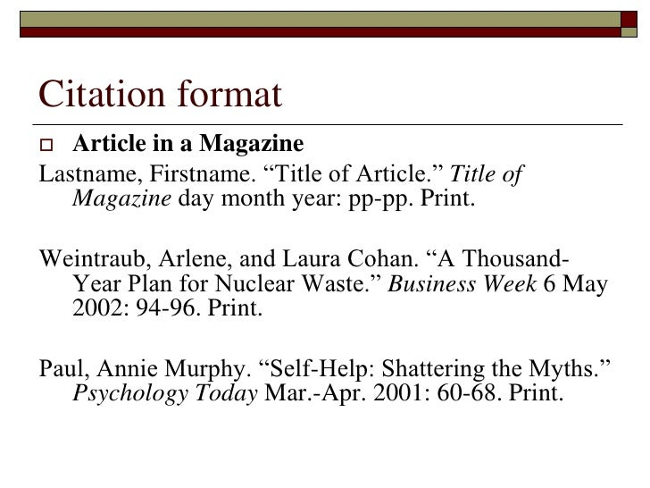 Annotated bibliography page