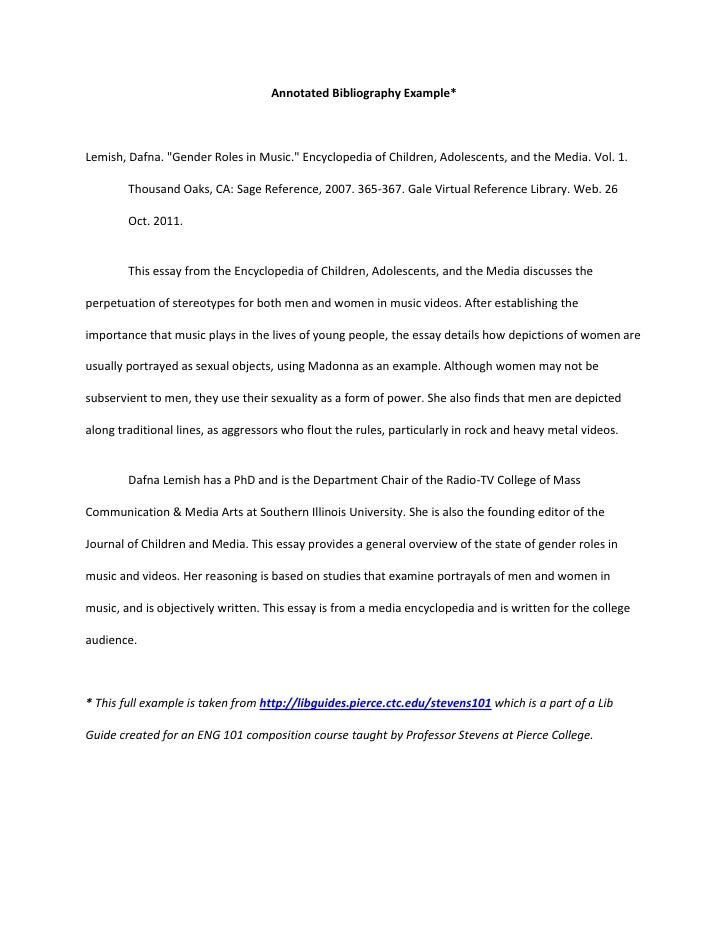 Bibliography Example For Thesis Annotated Bibliography Example