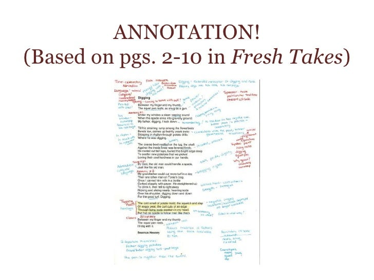 ANNOTATION! (Based on pgs. 2-10 in Fresh Takes)<br />