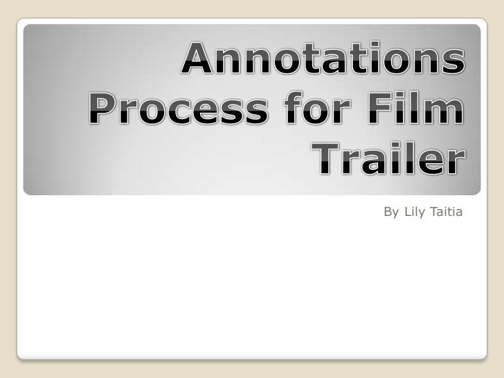 Annotations process for film poster