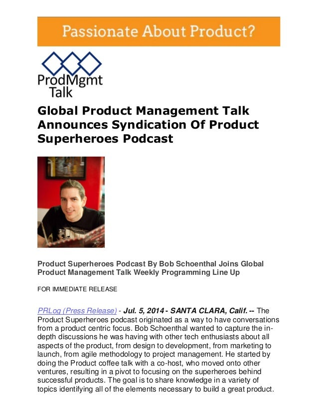 Global Product Management Talk Announces Syndication Of Product Superheroes Podcast
