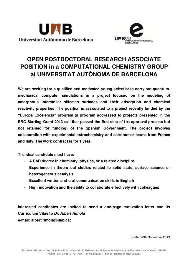 OPEN POSTDOCTORAL RESEARCH ASSOCIATE POSITION